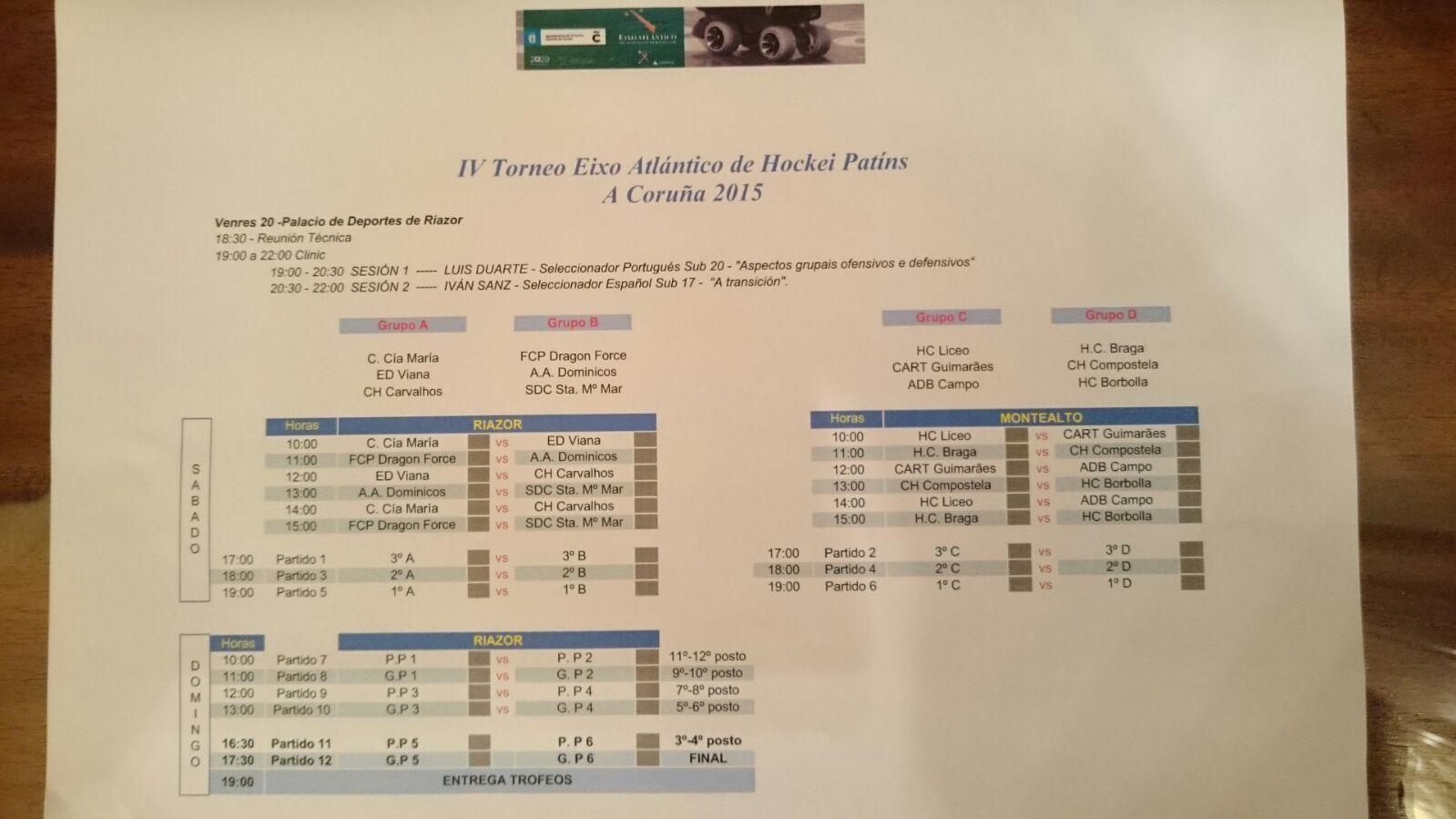 Avance Calendario del IV Torneo Eixo Atlántico de Hockey Patines.