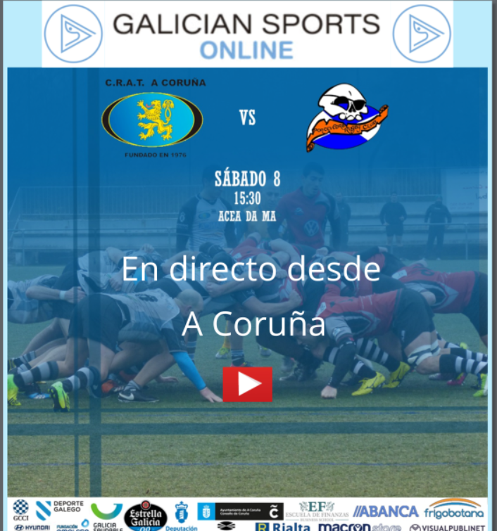 Rugby liga gallega Masculina CRAT Coruña         Pontevedra R.C